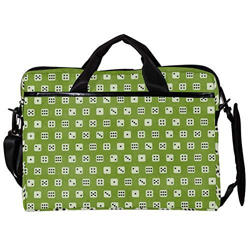 TIZORAX Laptop-Umhängetasche, Würfel, grüner Hintergrund, Laptop-Tragetasche, 38,1 - 39,1 cm (15-15,4 Zoll) Handtasche