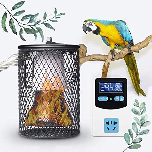 AACXRCR Sombra de lámpara de calor de reptil de seguridad, con termostato de calor digital anti-escaldado y tubo de hierro anti-picadura, kit de calentador de cooperador for lagarto de pollo tortuga c