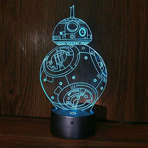 Kunyun 3D Colorido Ligero táctil LED Creativo BB8 Night Light Touch Remote Acrylic Base de plástico. (Color : A, Talla : 260 * 180 * 4mm)