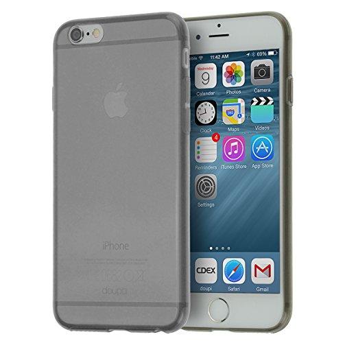 doupi UltraSlim AllClear Custodia per iPhone 6 / 6S (4,7 Pollici), Satinato fine Piuma Facile Mat Semi Trasparente Cover, Nero
