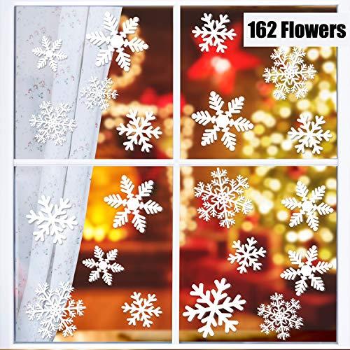 KATELUO 162 Schneeflocken, Fensterdeko, Fensterbilder für Weihnachts-Wiederverwendbar Dekoration, für Türen,Schaufenster, Vitrinen, Glasfronten Fensteraufkleber/Fensterbilder/Fensterdeko (Weiß)