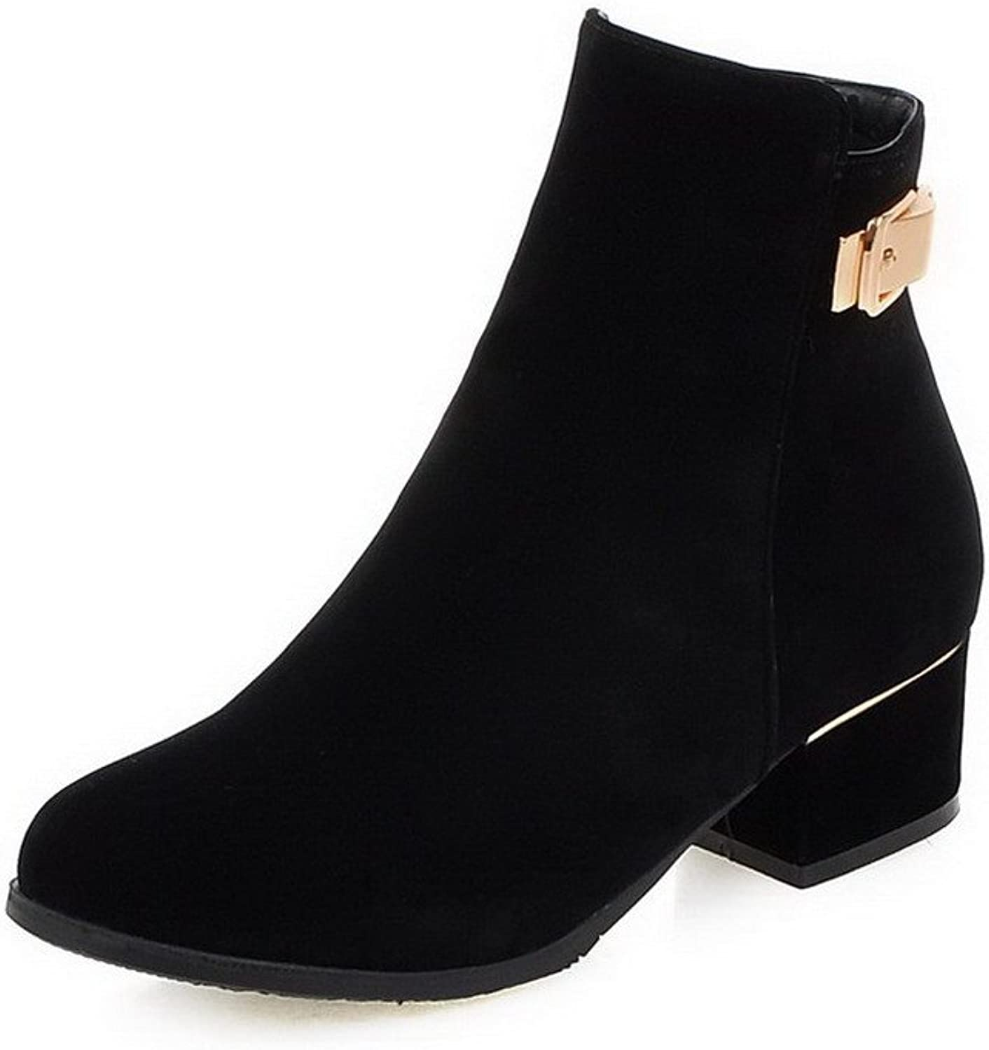 AmoonyFashion Women's Frosted Zipper Round Closed Toe Kitten-Heels Low-top Boots