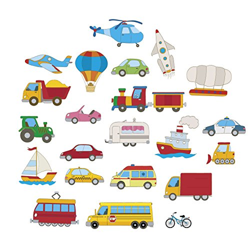 Nursery Wall Stickers Cars Transport Children Learning Kids Decals Cartoon Bus Plane Art Games Bedroom Living Room Graffiti Fashion Patches