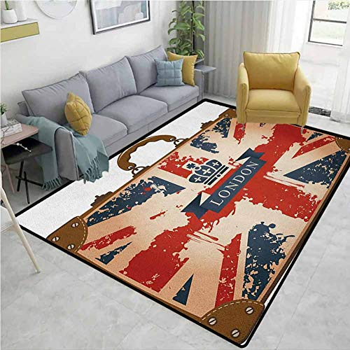 Union Jack Animals Door Mats Outdoors, Vintage Travel Suitcase with British Flag London Ribbon and Crown Image, Easy Maintenance Area Rug Living Room Bedroom Carpet(2.5'x 9')Dark Blue Red Brown