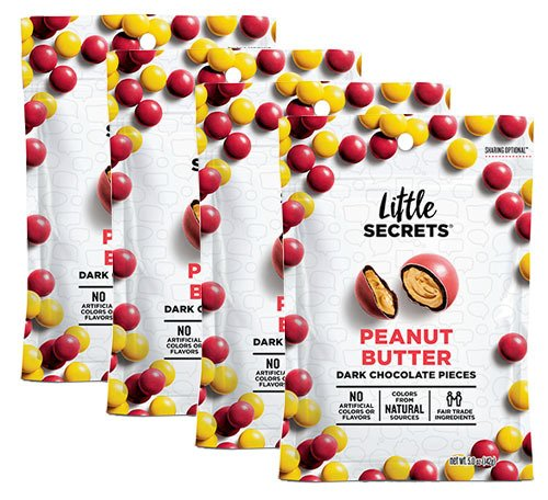 Little Secrets All Natural Fair Trade Gourmet Chocolate Candy - Peanut Butter Candies (5 oz, 4 Count) - The World's Most Unbelievably Delicious Chocolate Candies