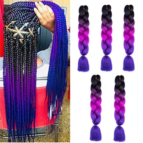 Kanekalon Ombre Braiding hair synthetic Crochet braids twist 24inch 5pcs/lot 100g Ombre two three tone Jumbo braid hair extensions Dreadlocks (black-purple-darkblue)