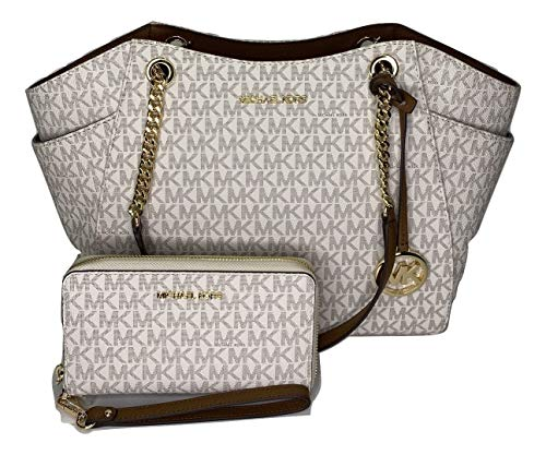 Bundle of 3 items: MICHAEL Michael Kors Jet Set Travel Large Chain Shoulder Tote bundled with Large Flat MF Phone Case Wallet Wristlet and Michael Kors Dust Bag 35SOPU0N4C Double top handles with chain detail in silver, Three quarter zippered top clo...