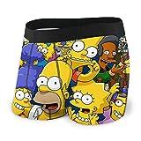 Zsrgvdrf Simpsons Herren Boxershorts S-XXL Druck Unterhose Design Super Weich Bequem Und Atmungsaktiv Und Elastisch Schwarz Gr. XXL, Schwarz