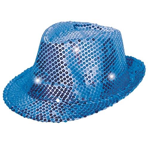 Folat 24074 Tribly Chapeau de fête avec paillettes et éclairage LED, pour adulte Unisexe, Bleu, Taille Unique