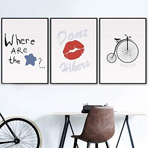 zszy Dibujos Animados Labios Rojos Bicicleta Estrella Arte de la Pared Pintura Carteles e Impresiones Cuadros de Pared para bebé niña niños nurserydecoration-40x50cmx3 Piezas sin Marco
