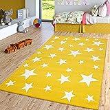 TT Home Alfombra Infantil De Pelo Corto para Habitación Infantil con Motivo De Estrellas, Amarilla, Größe:160x230 cm