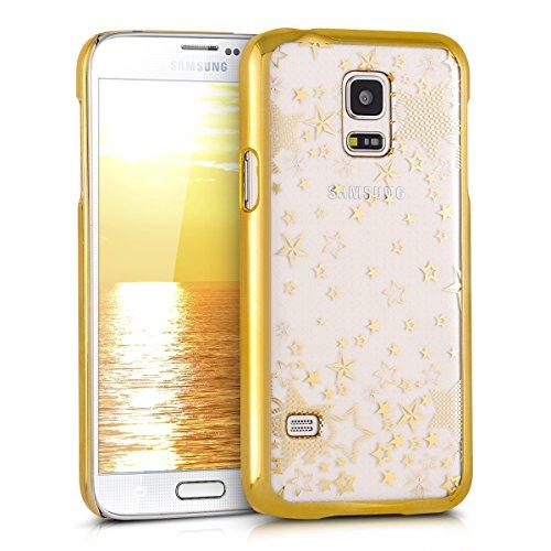 kwmobile Cover Compatibile con Samsung Galaxy S5 Mini G800 - Custodia Rigida Trasparente per Cellulare - Back Case Cristallo in plastica - Stelle Oro/Trasparente