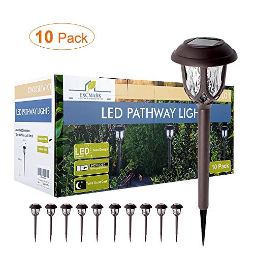 Solar Lights Outdoor Decorative, Solar Pathway Lights Outdoor, Solar Powered Garden Yard Lights for Walkway Sidewalk Driveway. (Warm White 10 Pack)