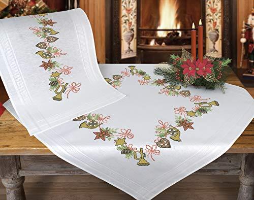 Kamaca Stickpackung WEIHNACHTSMOTIVE Tischdecke 80x80 cm Kreuzstich vorgezeichnet Baumwolle komplettes Stickset mit Stickvorlage Weihnachten