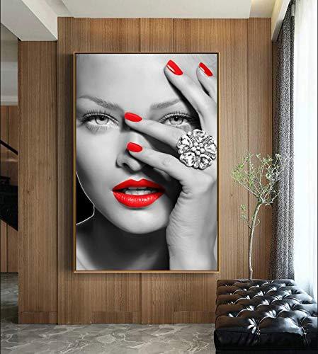 PLjVU Labio Rojo Belleza Mujer Figura Pintura de la Lona Cuadro Decorativo de la Pared para la Sala de Estar Arte de la Pared impresión del Cartel Pared Moderna hogar-Sin marco40X65cm