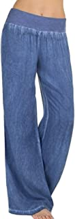 VEZAD Women`s High Waist Jeans Elasticity Denim Wide Leg Palazzo Pants Casual Trousers