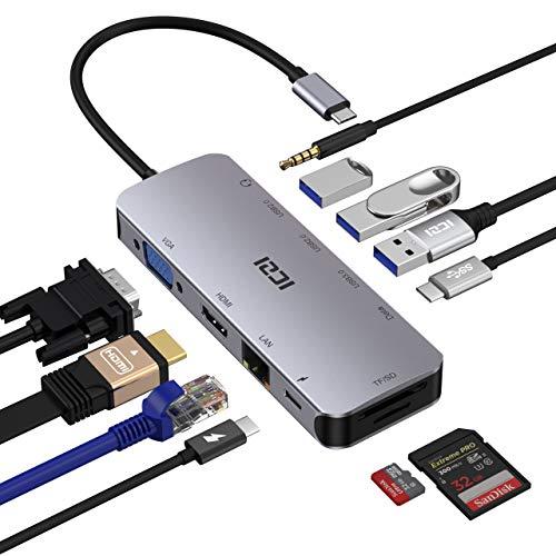 ICZI Hub USB C 11 in 1 Adattatore Type-C HDMI 4K VGA, Ricarica PD 100W & Porta Dati USB-C, Ethernet Porta SD/TF Audio/Mic 3 USB 3.0/2.0 per MacBook PRO/Air iPad PRO 2020 Chromebook ECC