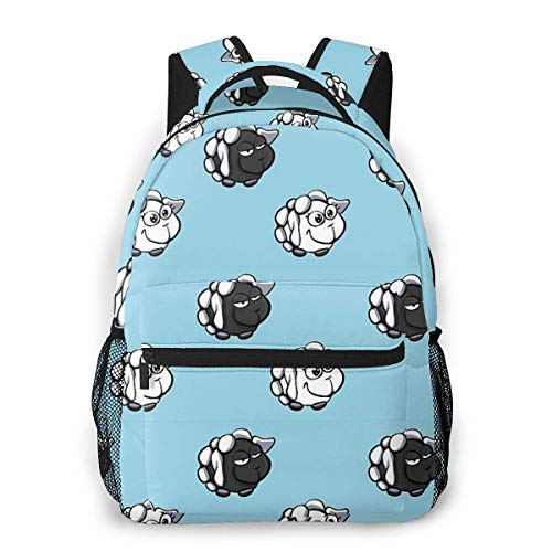 Black and White Sheep Causal Daypack Rucksack Vintage College School Bags Multipurpose Laptop Backpack for School/Business/Work/Men/Women