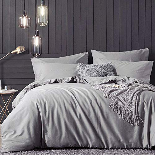 RUIKASI 4PCS King Size Duvet Cover Sets with Fitted Sheet Deep Pocket(150 x 190 + 40 cm), Non-Iron Brushed Microfiber Gray Duvet Covers with 2 Pillowcases, Modern Style Hypoallergenic Bedding Set King