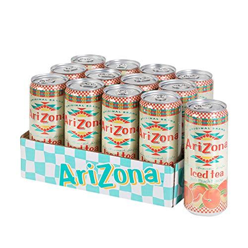 AriZona – Schwarzer Tee mit Pfirsichgeschmack – Packung mit 12 Dosen 330 ml – Getränk 100% Vergnügen – Verpackung Design