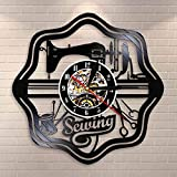 KEC Tailor Vintage Vinilo Disco Reloj de Pared costurera Artesanos Regalo me Encanta Coser Pared Arte máquina de Coser Reloj de Pared decoración del hogar