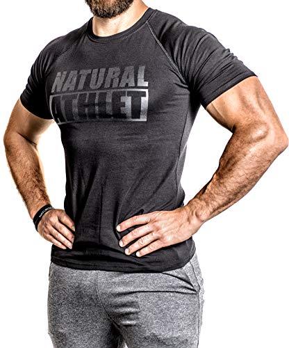 Flavio Simonetti Natural Athlet T-Shirt Herren Männer Kurzarm Shirt Optimal für Fitnessstudio, Gym & Training - Passform Slim-Fit, Rundhals & Tailliert - Farbe Schwarz, Schwarz/Schwarz, S