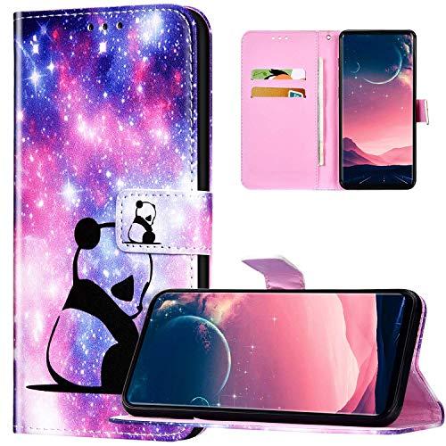 JAWSEU Coque Galaxy A51 Portefeuille PU Cuir Étui pour Galaxy A51,Rétro Motif Livre à Rabat Coque Housse Protection Magnétique avec Support Wallet Flip Case Cover,Bébé panda