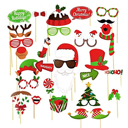 Jofan 32 PCS Christmas Photo Booth Props DIY Christmas Party Selfie Accessories for Christmas Party Favors Christmas Decorations