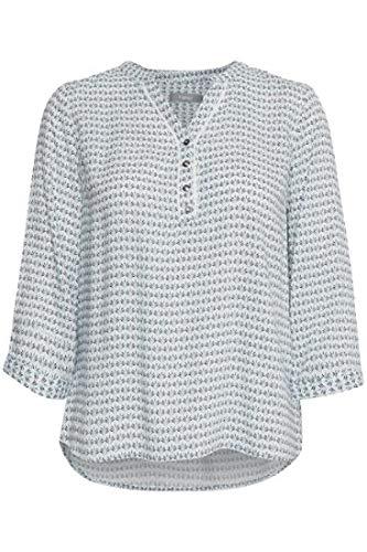 fransa Damen Bluse Langarm mit Graphic Alloverprint, Größe:XXL, Farbe:Mehrfarbig (Graphic - Island Paradise Mix 69380)