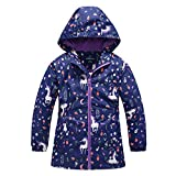 Girls Rain Jacket, Windbreaker Kids Raincoat Waterproof Zip Jacket with Fleece Liner (1101, 6)