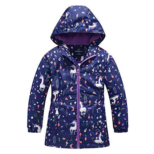 Girls Rain Jacket, Windbreaker Kids Raincoat Waterproof Zip Jacket with Fleece Liner (1101, 4)