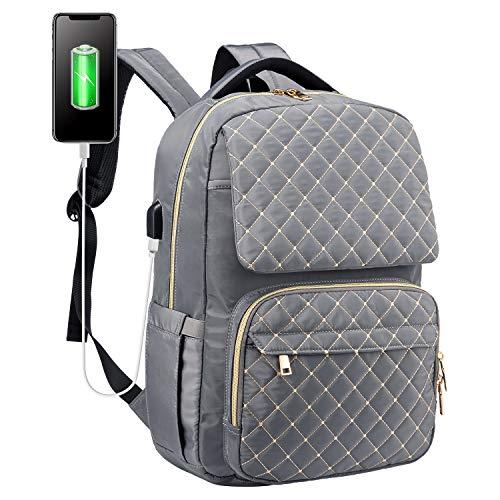 LOVEVOOK Laptop Rucksack Damen groß für 15,6 Zoll Laptop, Daypack Anti-diebstahl, Rucksack wasserdicht für Schul Reisen Job mit Laptopfach und USB-Anschluss, Rucksack Damen Grau