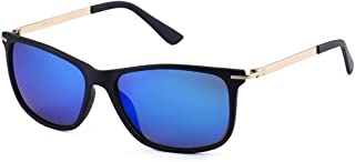 Fashion Plastic Frame Polarized Glasses Women's Sunglasses Eye Protection Sunshade Mirror Retro (Color : Blue)