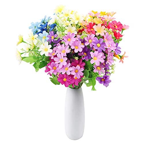 Fiore Artificiali,6pcs Fiori Artificiali Margherita di Seta finta fiori finti fiori di plastica verde arbusti piante decorazione da giardino all'aperto per interni decorazioni feste matrimonio a casa