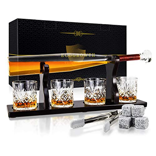 EcoGrowth Whiskey Decanter Set,Baseball Bat Decanter, Whiskey Glasses Set with Wooden Stand,4 Glasses, 6 Whisky Stones for Liquor, Scotch, Bourbon, Vodka,Gifts for Dad,Husband