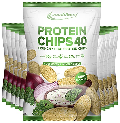 IronMaxx Protein Chips 40 High Protein Low Carb, Geschmack Sour Cream & Onion, 10x 50 g Beutel (10er Pack)