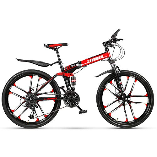 Bicicleta de montaña plegable Frenos de doble disco Bicicleta MTB plegable todoterreno 21 Cambio de velocidad Plegable Ciclismo de viaje 26 pulgadas Neumático de diez cuchillas (Color: negro rojo)