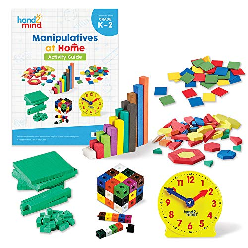 hand2mind Take Home Math Manipulatives Kit for Kids Grade K-2, with Snap Cubes, Base Ten Blocks, Cuisenaire Rods, Pattern Blocks, Color Tiles and Learning Clock, Homeschool Supplies (292 Pieces)