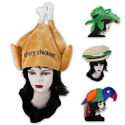 Lustige Kopfbedeckungen für Fasching, Partys od. Junggesellenabschiede - Hamburger, Papagei, Krokodil und Hähnchen (Hähnchen)