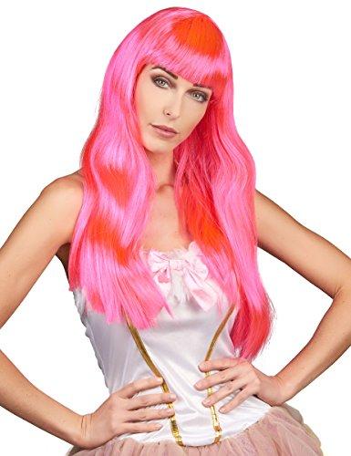 Boland 85870 Perruque Chic Cheveux Longs avec Frange Rose