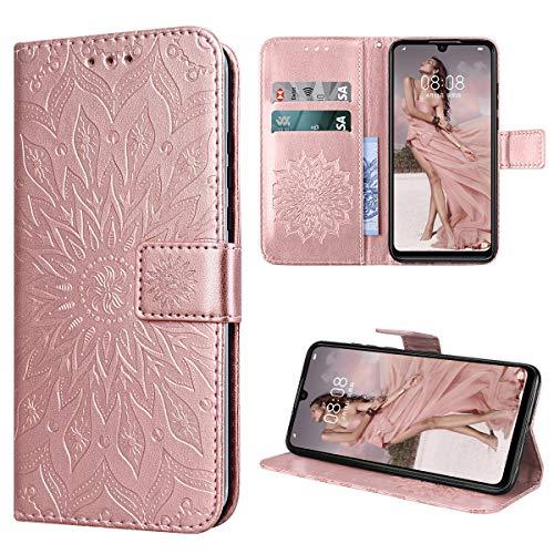 KOTPARX Cover per Huawei P30 Lite Custodia di Pelle Case Flip Portafoglio Retro Libretto Magnetico Protettiva Non Graffi Funzione Supporto Bumper Fiore Girasole - Oro Rosa