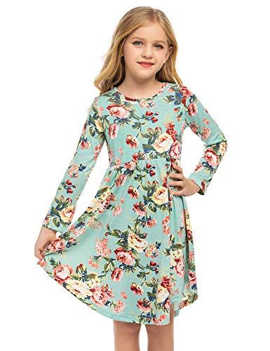 Bricnat Sukienka z długim rękawem, dziewczęca sukienka w kwiaty, z długim rękawem, linia A, odświętna, dla dzieci, długa, na jesień i zimę, niebieski, 150 cm