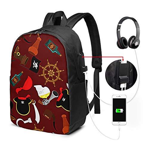 Laptop Rucksack Business Rucksack für 17 Zoll Laptop, Piratenpiratische Freibeuter Abenteuer 7 Schulrucksack Mit USB Port für Arbeit Wandern Reisen Camping, für Herren Damen