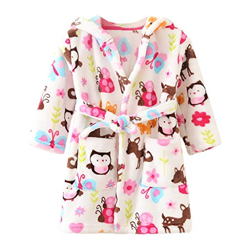 BUKINIE Peignoirs pour Enfants Garçons Filles Peluche Doux Fuzzy Fleece Hooded Robe Beach Cover Up Pool Wrap(Multicolore,4-5 Années)