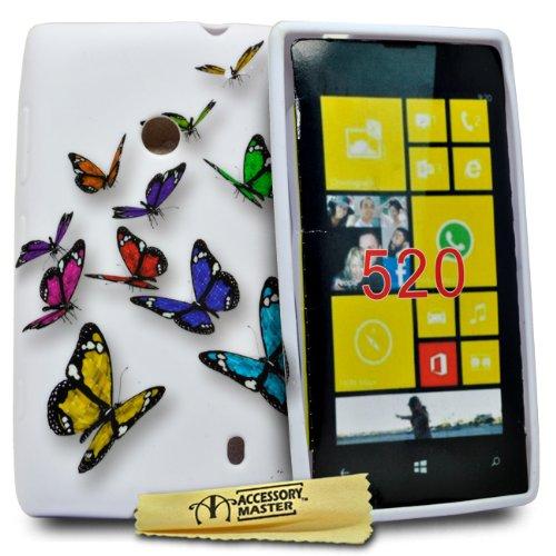 Accessory Master–Cover in Silicone per Nokia Lumia 520con Fiori e Farfalle