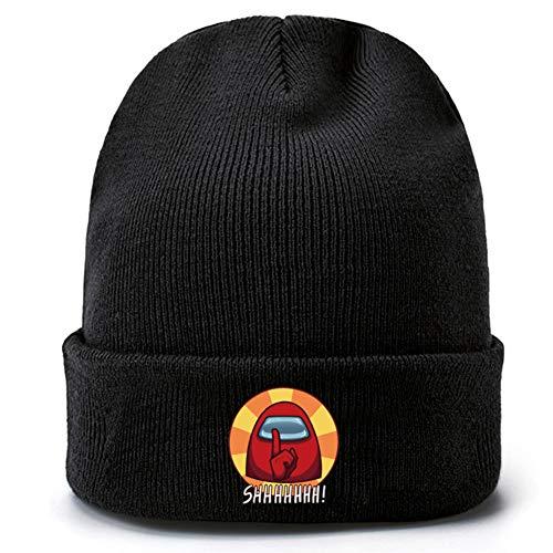 SZWL Gorro de Punto - Among Us Beanie Hat para Unisex - Gorro de Punto con Tema de Juego Cálido con Solapa y Diseño Impreso, para Adultos, Actividad al Aire Libre (Negro)