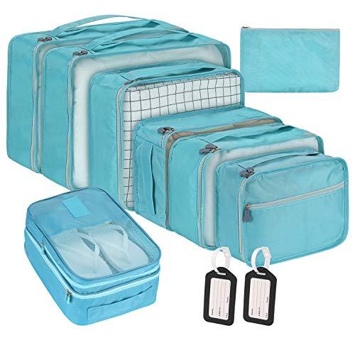 Packing Cubes for Travel, 10Pcs Travel Cubes Set Foldable Suitcase Organizer Lightweight Luggage Storage Bag (New Blue)