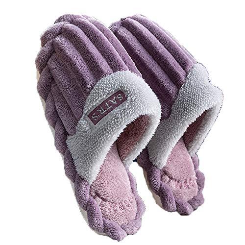 Fudeer Zapatillas Casa Mullidas Felpa Mujer Toboganes Cálidos Lana Coral Cómodos Zapatos Dormitorio Antideslizantes Piel Sintética Espuma Viscoelástica Interiores Exteriores,Púrpura,S