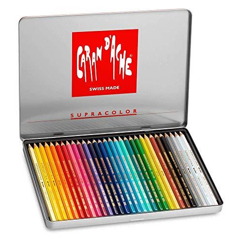 Caran Dache - Caja metálica con 30 colores surtidos