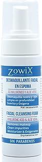 ZOWIX Desmaquillante facial mousse. Limpiador en espuma para ojos cara y cuello. Foam Natural Piel Seca y Mixta. Acido Hi...